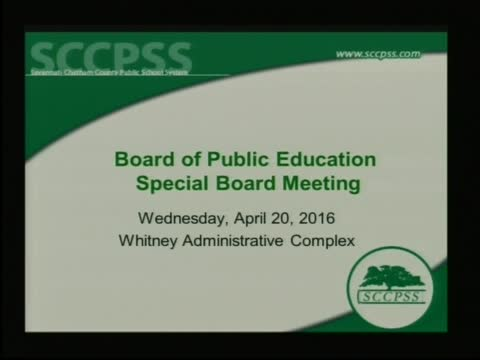 Savannah-Chatham Co. Board of Education Special Meeting 4/20/16